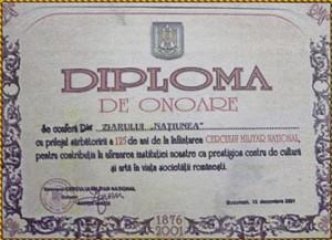 Diplomă de onoare acordată în anul 2001 Ziarului Națiunea de către Cercul Militar București
