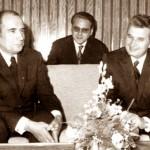 Mitterand și Nicolae Ceaușescu